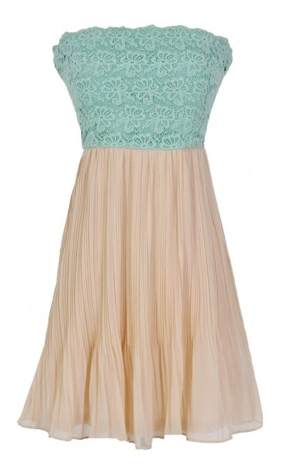 Sweet Nothings Lace and Pleated Chiffon Designer Dress in Sage/Beige