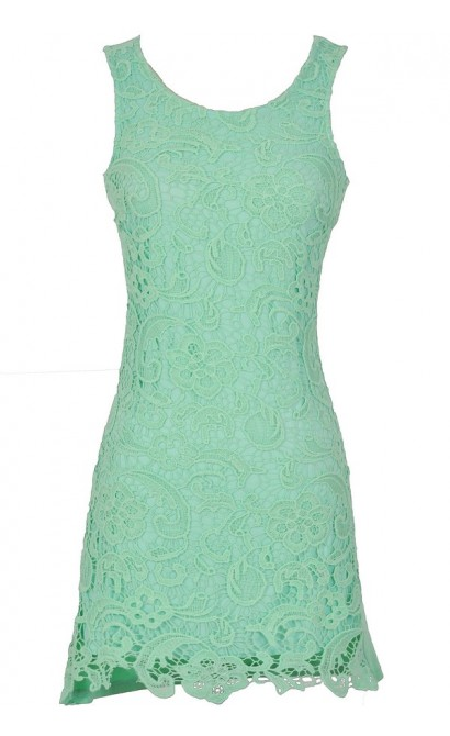 Lace Your Bets Dress in Mint