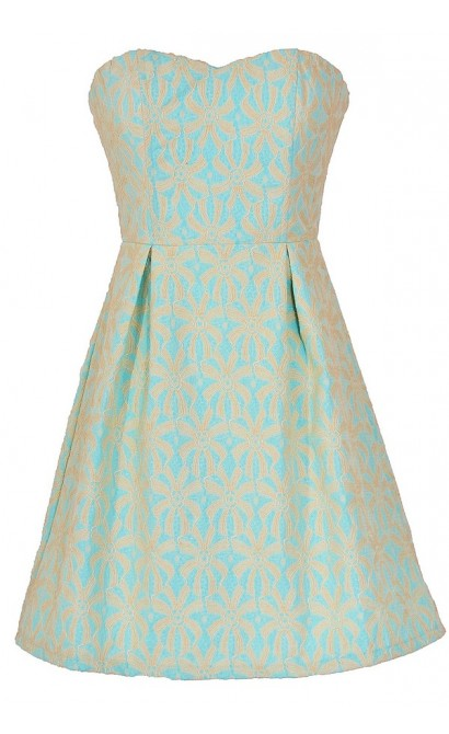 Sand Dollar Summer Dress in Sky Blue/Beige
