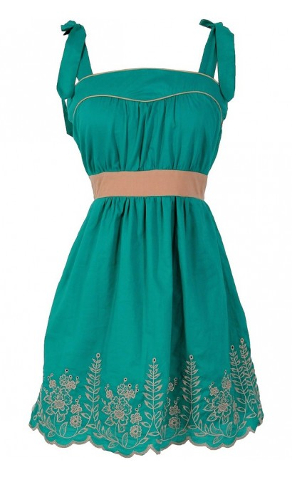 Shoulder Tie Embroidered Designer Dress in Jade