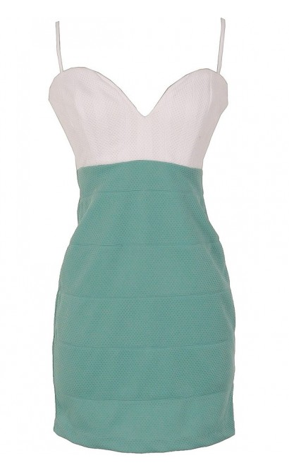 Sage and White Textured Colorblock Dress by Ark and Co
