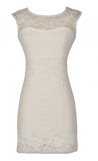Bold Floral Lace Fitted Dress in Ivory