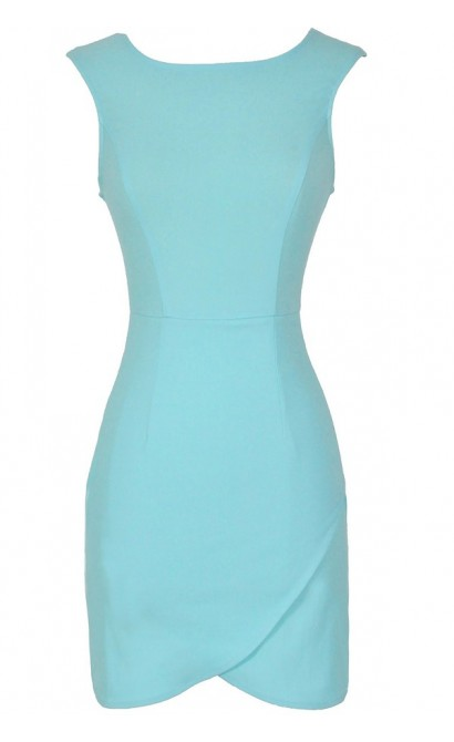 Thats A Wrap Bodycon Pencil Dress in Sky Blue