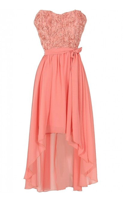 Rosette Romance Designer High Low Dress in Pink