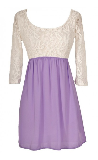 Sweet Caroline Dress in Ivory/Purple