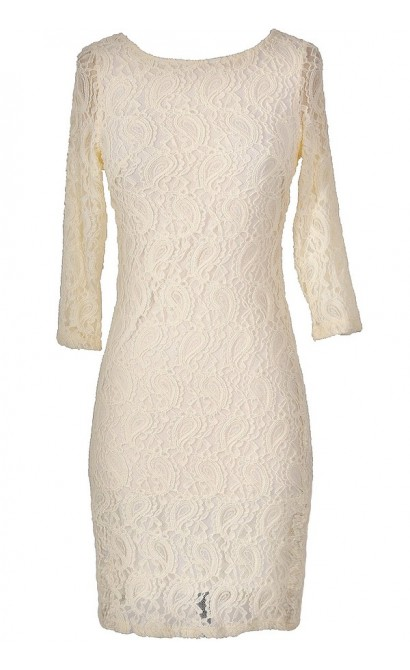 Paisley Lace Three Quarter Sleeve Dress in Cream