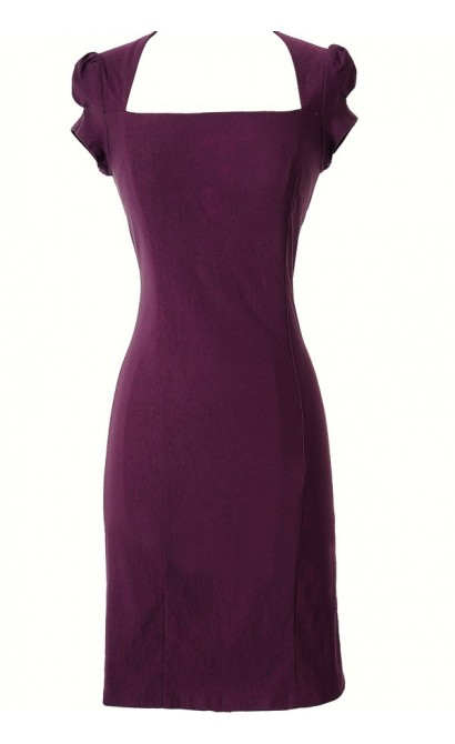 Square Neck Modest Pencil Dress in Purple