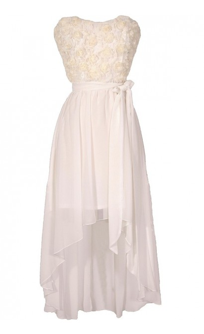 Rosette Romance Designer High Low Dress in Ivory