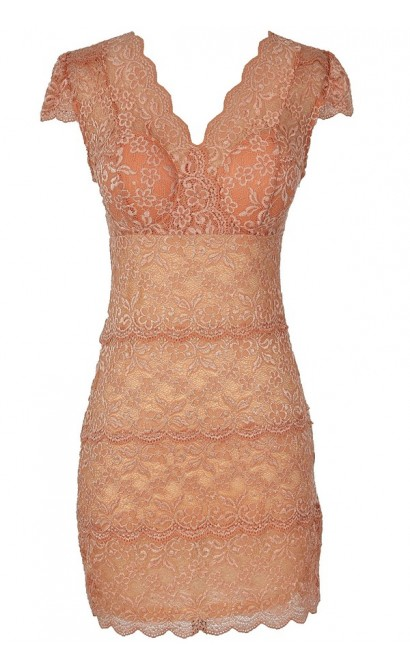 Material Girl Delicate Lace Bustier Dress in Peach Beige