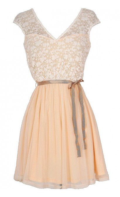 Sonoma Sunset Lace Dress in Cream/Peach