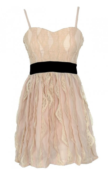 3-Dimensional Lace Pink and Black Designer Dress by Minuet