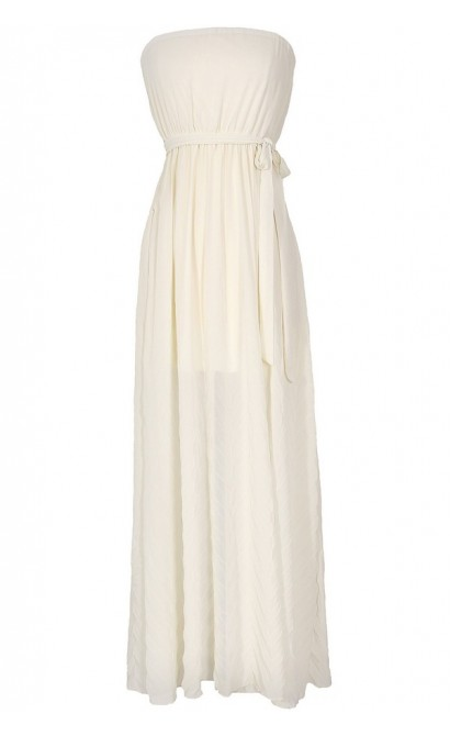 Soft As Feathers Ivory Chiffon Maxi Dress