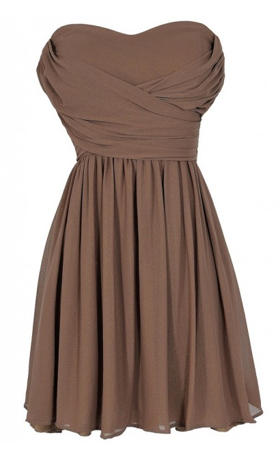 Dress To Impress Strapless Chiffon Dress in Mocha Shimmer