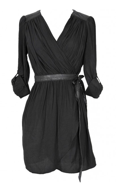 Leatherette Detail Wrap Dress in Black