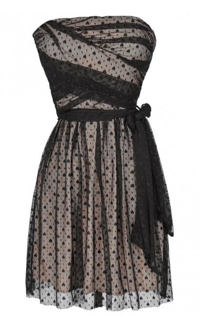 Ink Blot Black and Beige Mesh Lace Dress