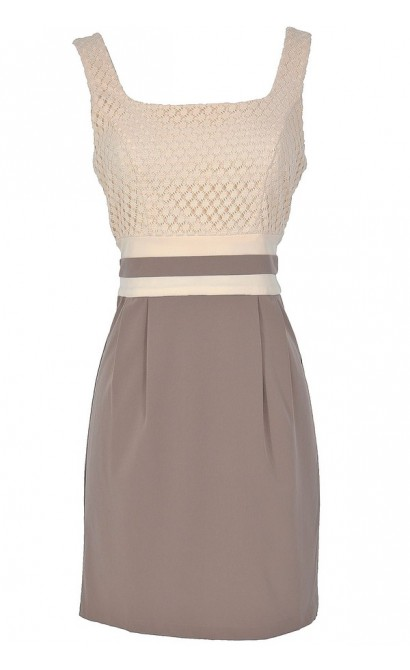 Caramel Macchiato Taupe and Beige Designer Dress