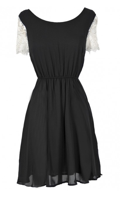 Love At First Sight Lace Cap Sleeve Dress in Black
