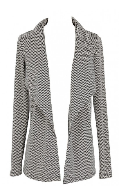 Herringbone Pattern Open Cardigan
