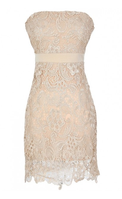 Make A Wish Crochet Lace Strapless Dress in Beige