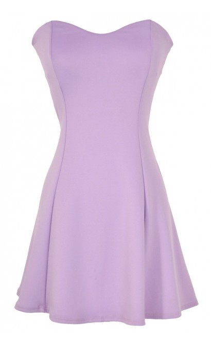 Sweetheart Strapless Skater Dress in Lavender