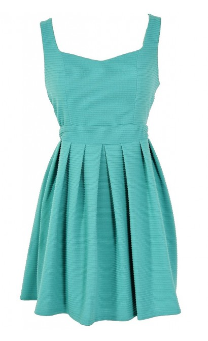 Teal My Heart Open Back Fit and Flare Dress