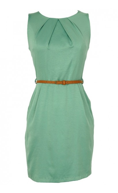 Classic Belted Sheath Dress in Sage
