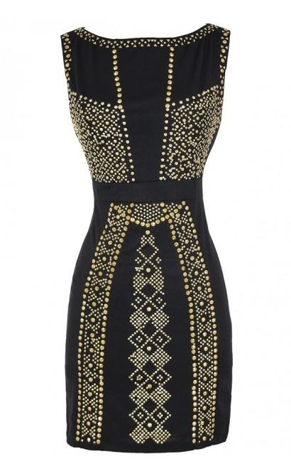Queen of the Nile Embellished Bodycon Dress in Black