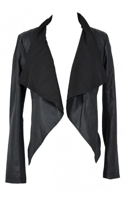 Vegan Leather Open Jacket in Black