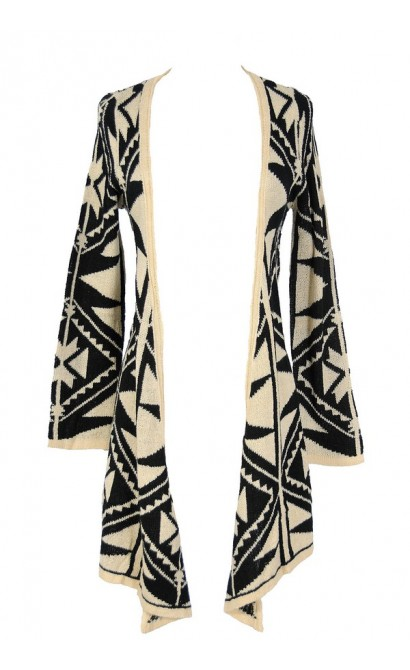 Black and Beige Tribal Pattern Cardigan
