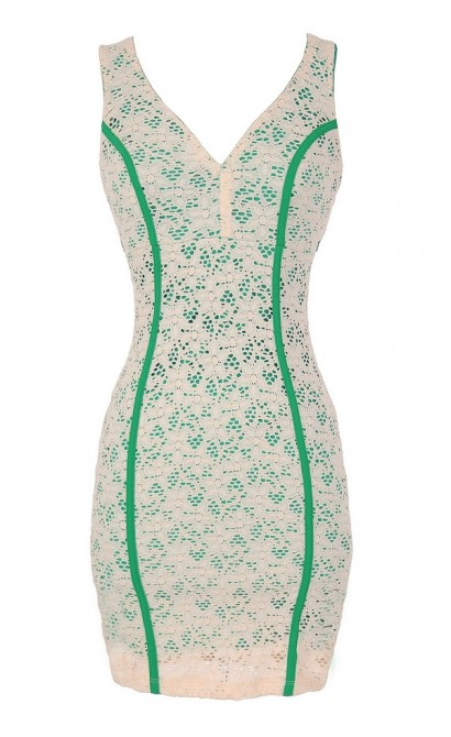Go Green Lace Dress with Fabric Piping