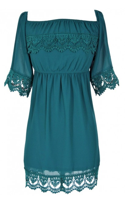 Gypsy Crochet Lace Dress in Dark Green