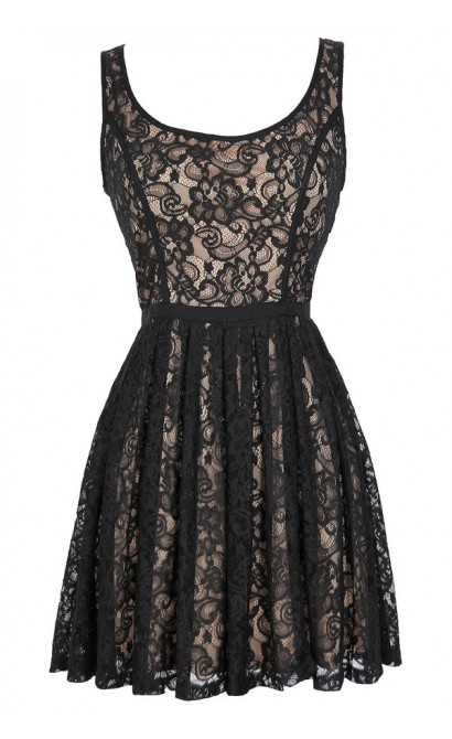 Effortlessly Enchanting A-Line Lace Dress in Black/Nude