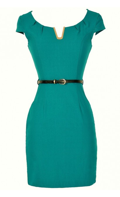V for Victory Belted Pencil Dress in Teal