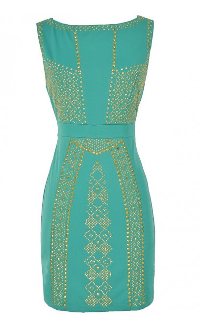 Queen of the Nile Embellished Bodycon Dress in Jade
