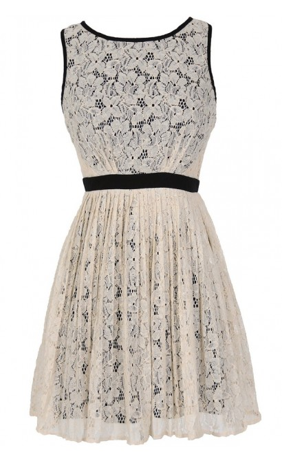 Classy Contrast A-Line Pleated Lace Dress in Ivory
