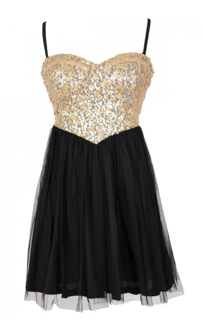 Cleopatras Treasure Sequin and Tulle Cutout Party Dress