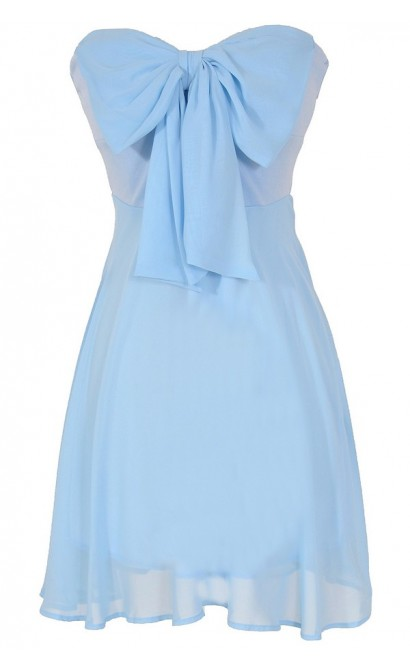 Oversized Bow Chiffon Dress in Sky Blue
