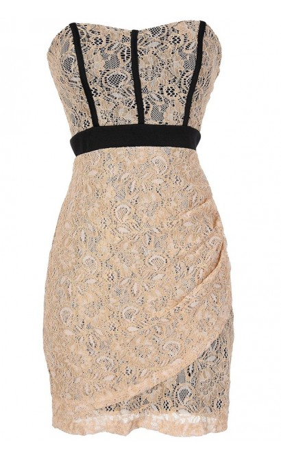 Strapless Lace Dress with Fabric Piping in Beige/Black