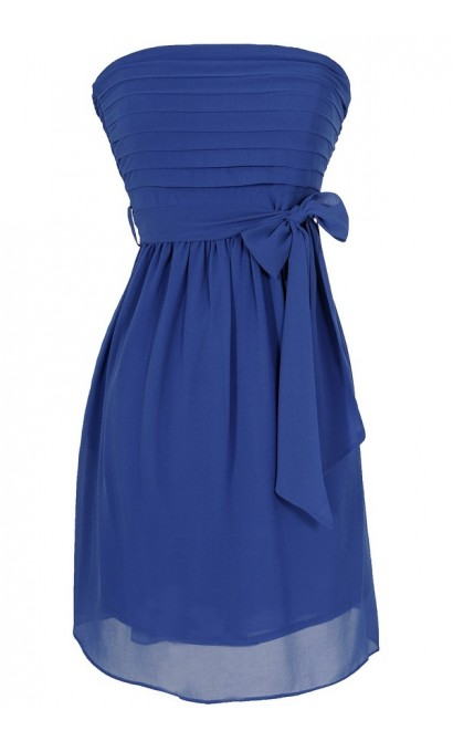 Blue Moon Tiered Strapless Chiffon Dress