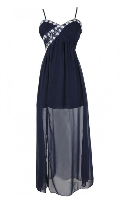 Evening Elegance Bold Embellished Maxi Dress in Navy