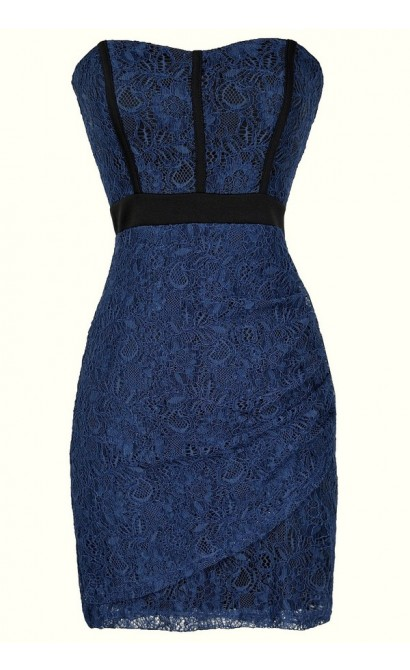 Strapless Lace Dress with Fabric Piping in Blue/Black