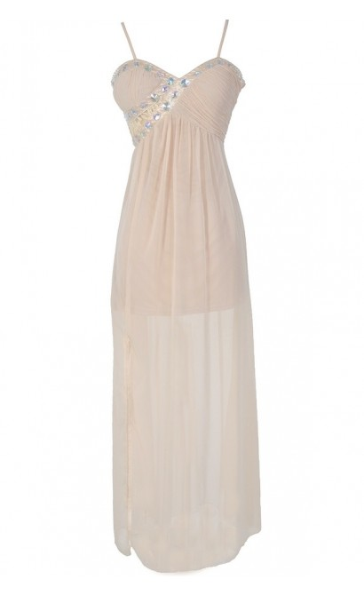 Evening Elegance Bold Embellished Maxi Dress in Cream