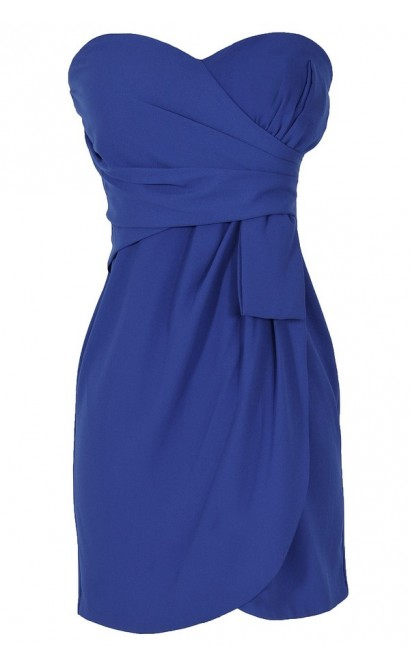 Annabelle Strapless Chiffon Designer Dress in Bright Blue