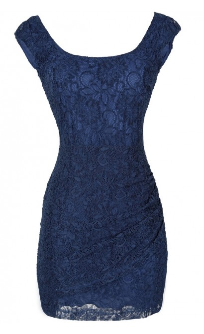 Morning Mist Lace Bodycon Dress in Blue