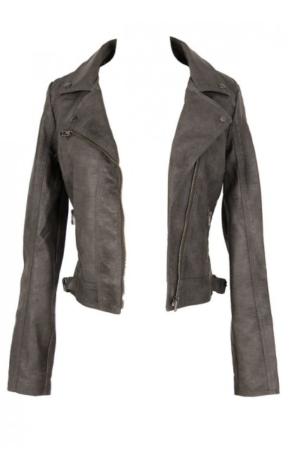 Grey Fitted Vegan Leather Jacket
