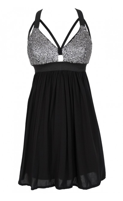 Shining Armor Sequin Designer Cutout Party Dress in Black/Silver