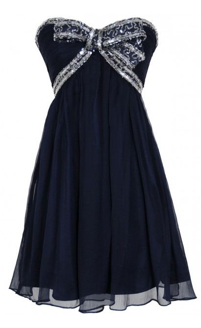 Sequin Bow Chiffon Designer Dress by Minuet in Navy/Silver