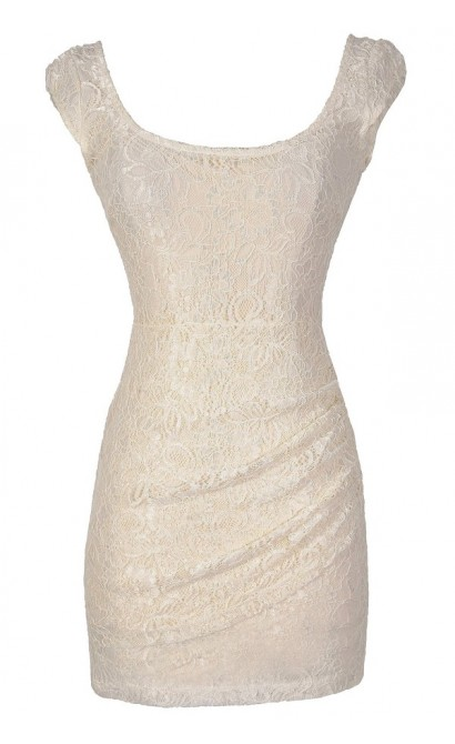 Morning Mist Lace Bodycon Dress in Ivory