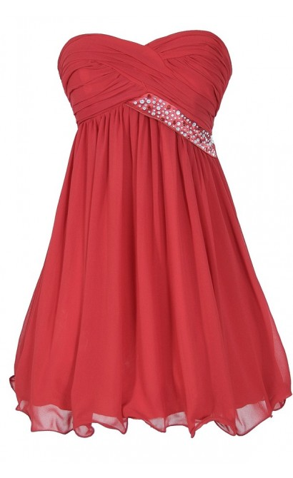 0fc44438f1a Trail of Stars Embellished Pleated Chiffon Party Dress in Red Lily Boutique
