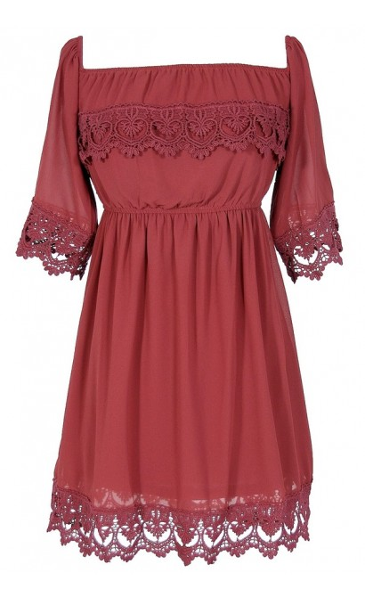Gypsy Crochet Lace Dress in Red Wine